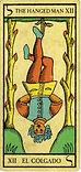 Carta de El Colgado de los arcanos mayores del Tarot de Marsella