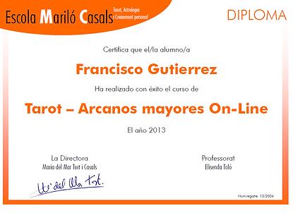 Diploma curso Tarot Arcanos Mayores Online