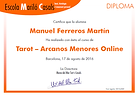 Ejemplo de certificado de estudios que se entraga al finalizar el curso de Tarot Online,