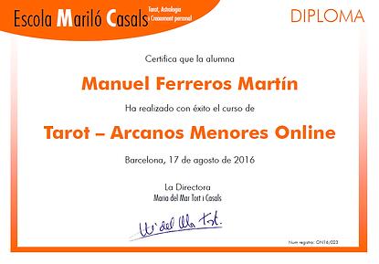 Diploma curso Tarot Arcanos Menores Online
