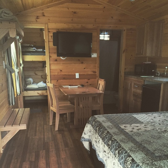 Our cozy small lodge! They are complete with wifi, direct tv, full bath, small fridge, and charcoal