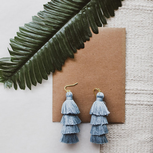 Large Steel Blue Tassel earrings