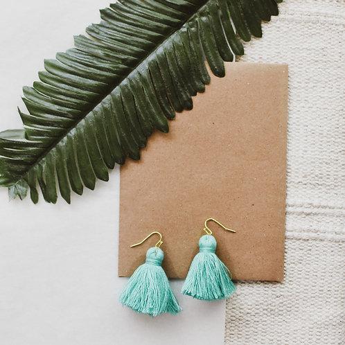 Small Turquoise Tassel Earrings