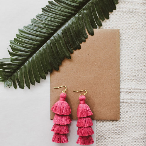 Large Wild Berry Tassel Earrings