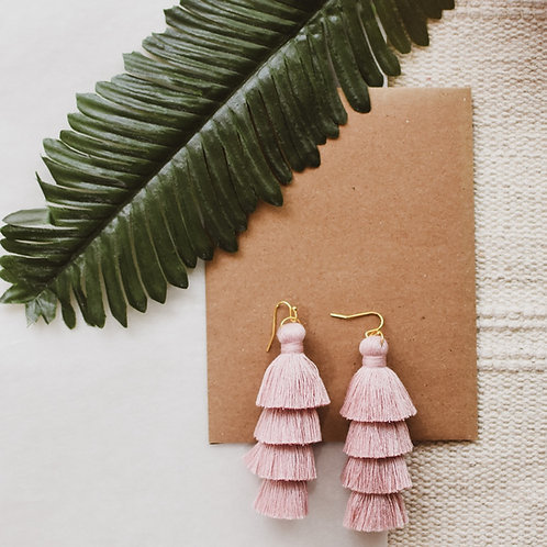 Large Soft Pink Tassel earrings