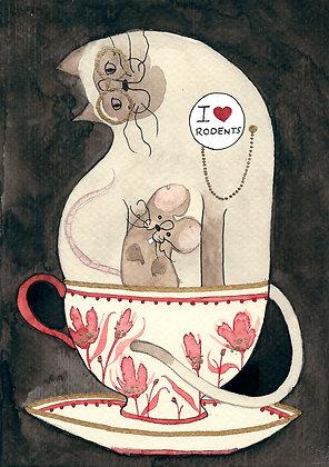Inktober 6 - Gato en taza con ratón