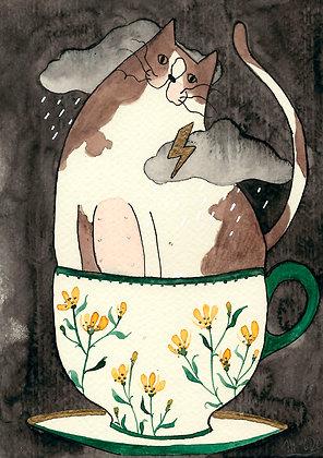 Inktober 17 - Gato gordito con tormenta en taza