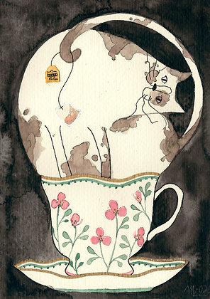 Inktober 3 - Gato gordo en taza