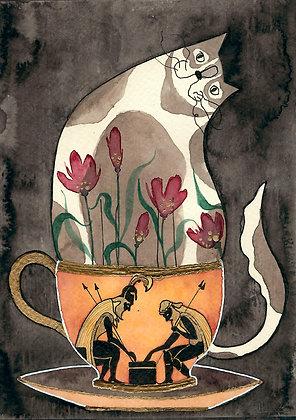 Inktober 14 - Gato gordito en taza de guerreros con armadura