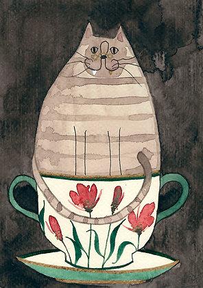 Inktober 8 - Gato con diente de oro en taza