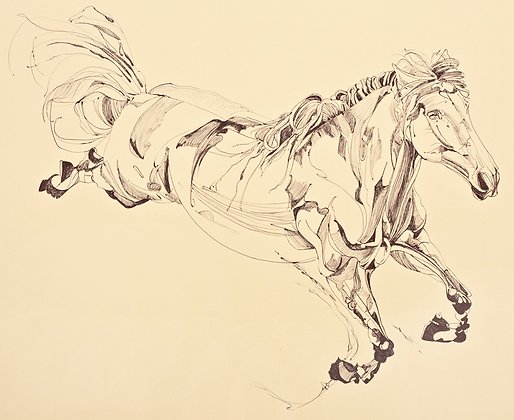 Study of a leaping thoroughbred