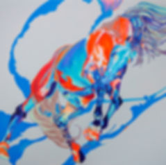 Euphoria, painting of a horse at start of gallop