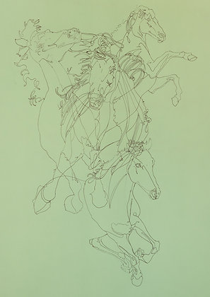 'Untitled' Drawing on Green