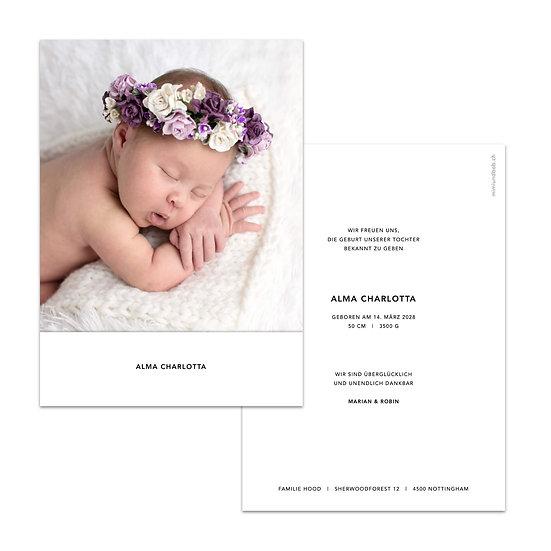 Geburtskarte Babykarte minimalistic minimalistisch weiss