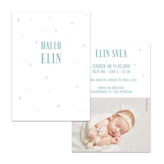 Geburtskarte Babykarte im skandinavischen nordic stil mit Schneeflocken winterlich hell Pastell blau