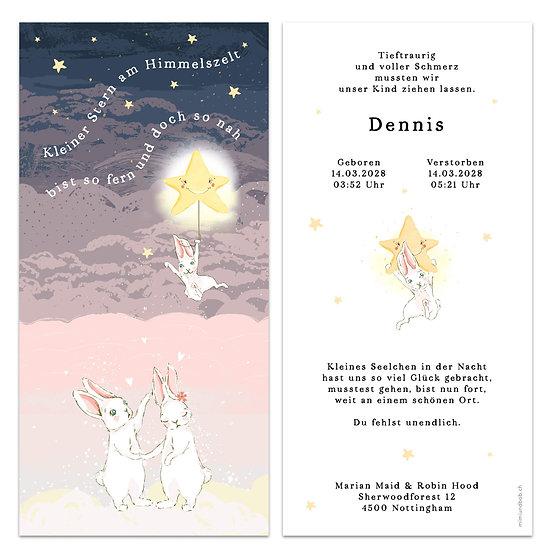 Geburtskarte Trauerkarte Sternenkind stille Geburt Trauerkarte Baby Hase fliegt mit Ballon in den Himmel Eltern sind traurig