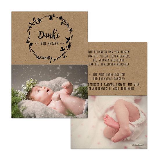 Dankeskarte Geburt Boho Stil Bohemien Kranz auf Muskatpapier