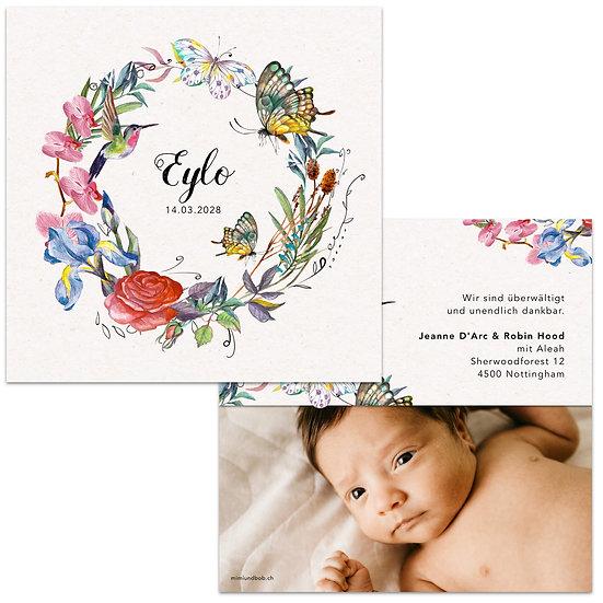 Geburtskarte Babykarte Blumenkranz mit Kolibri und Schmetterlinge und bunte Blumen