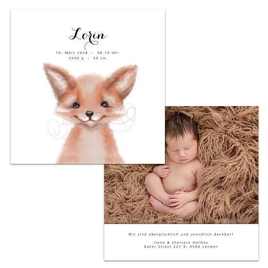 Geburtskarte Babykarte Fuchs Fuchsjunges Füchslein Wasserfarbe
