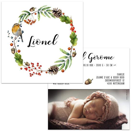 Geburtskarte Babykarte herbstlicher Kranz aus Blätter, Beeren Tannenzapfen Rotkehlchen Vogel