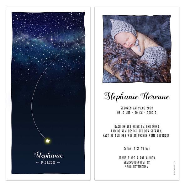 Geburtskarte Stern fällt vom Sternenhimmel aus Galaxie