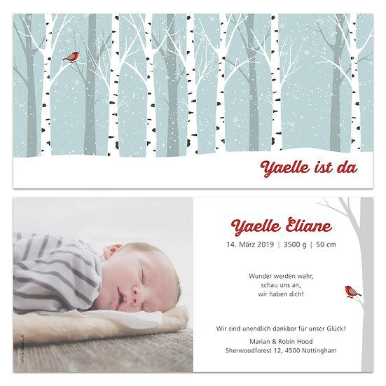Geburtskarte Babykarte Winter winterlich Birkenbäume im Schnee mit Rotkehlchen