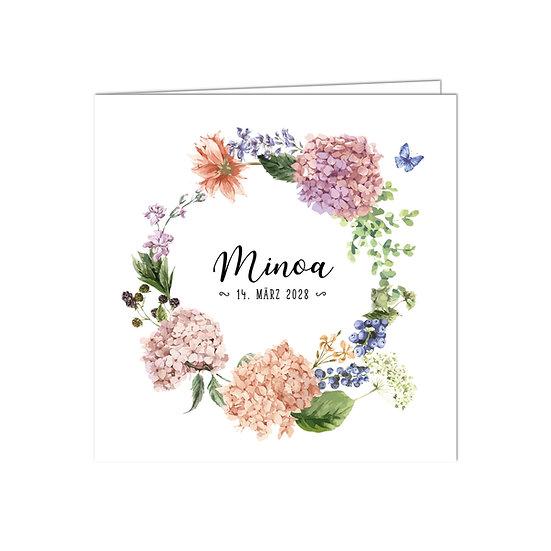 Geburtskarte Babykarte Falzkarte Klappkarte Blumenkranz Kranz aus Blumen und Blüten mit Schmetterling