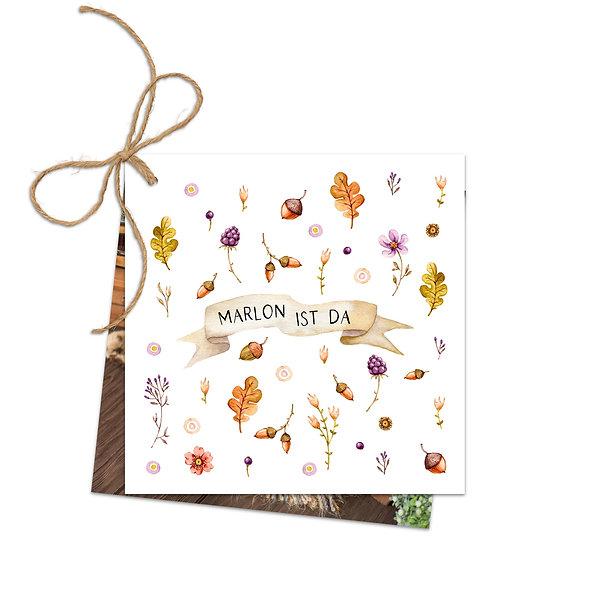 """Geburtskarte Fächerkarte """"Magischer Herbst Marlon"""""""