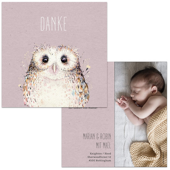 Dankeskarte Geburt Lila Violett Kraftpapier mit Eule watercolor