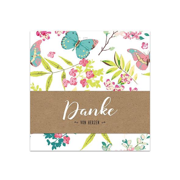 Dankeskarte Geburt Kraftpapier Handlettering Schmetterlinge Blumen