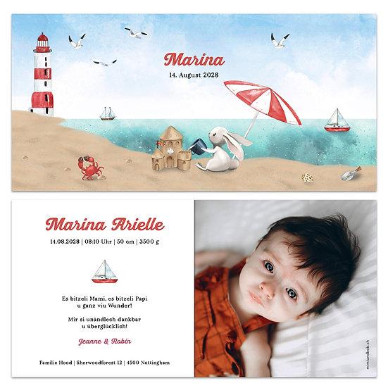 Geburtskarte Sommer Strand Meer Leuchtturm