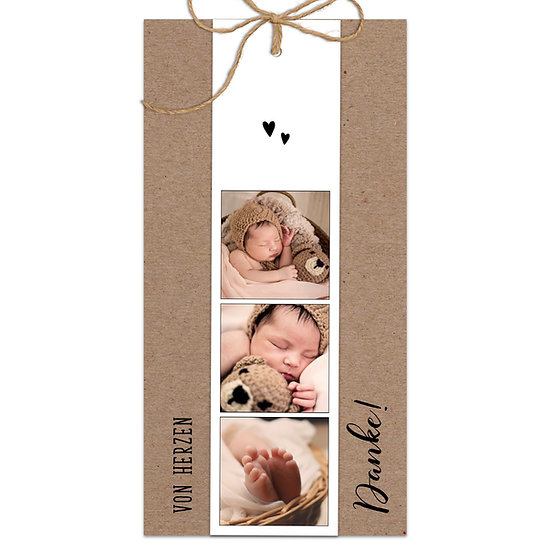 Dankeskarte Geburt Kraftpapier mit Fotostreifen Sisalschnur zusammengebunden