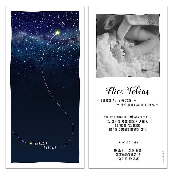 Trauerkarte für Sternenkind Geburtskarte