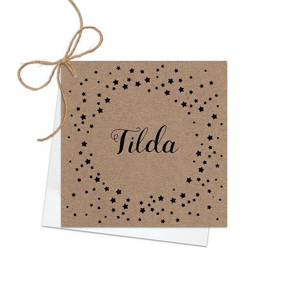 "Geburtskarte Fächerkarte Kraftpapier ""Sterne Tilda"""