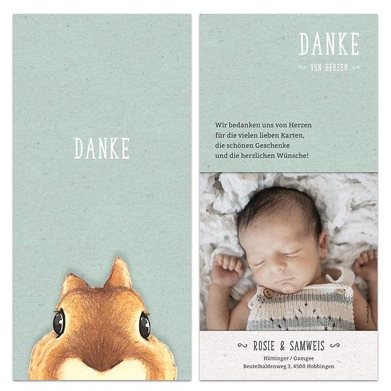 Dankeskarte Geburt grün mit Eichhörnchen
