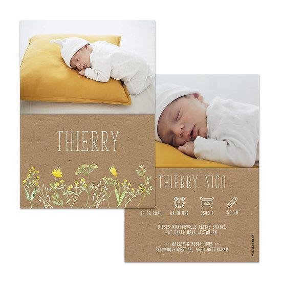 Geburtskarte Kraftpapier mit gelben Blumen