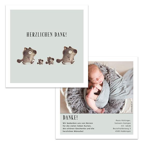 Dankeskarte Geburt Lila Violett zu viert vier Tiere Junge