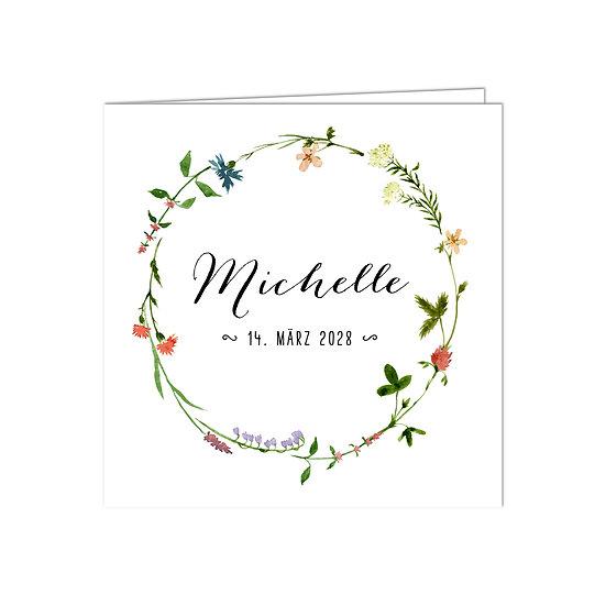 Geburtskarte Babykarte Klappkarte Falzkarte Kranz aus Blumen Sommerblumen Blüten Name in Handlettering