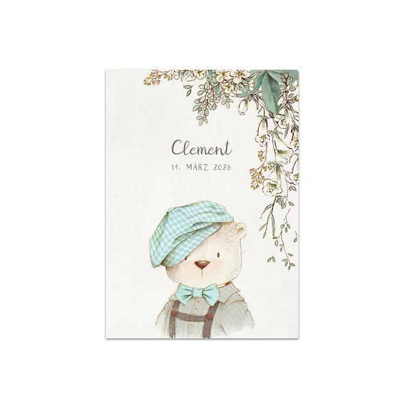 """Geburtskarte Einzelkarte """"Vintage Forest Clement"""""""
