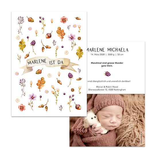 Geburtskarte Babykarte herbstlich Herbst Blätter Eichelnüsse Eichenblätter Herbstblätter Laub Herbstlaub Wasserfarbe boho