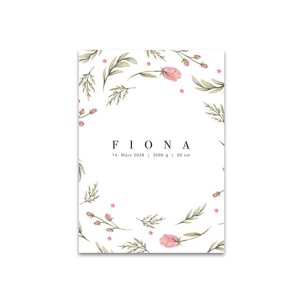 Geburtskarte Aquarell Blumen rosa