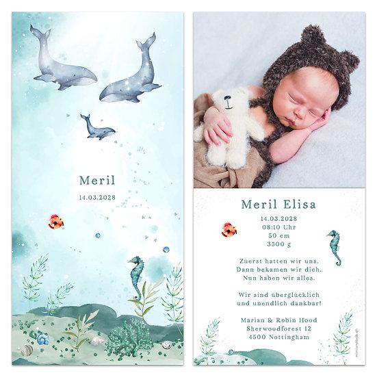 Geburtskarte Unterwasser Walfische Wale