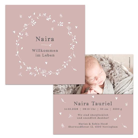 Geburtskarte Babykarte Cottage Garden altrosa Kranz mit Libelle Schmetterling und Blumen und Blätter