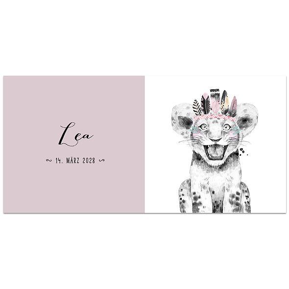 Geburtskarte Einzelkarte Safari Babies Löwe rosa altrosa Mädchen