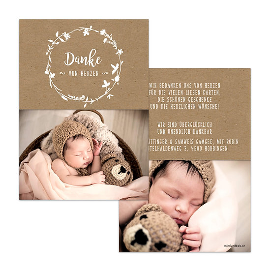Dankeskarte Geburt Boho Bohemien Handlettering auf Kraftpapier