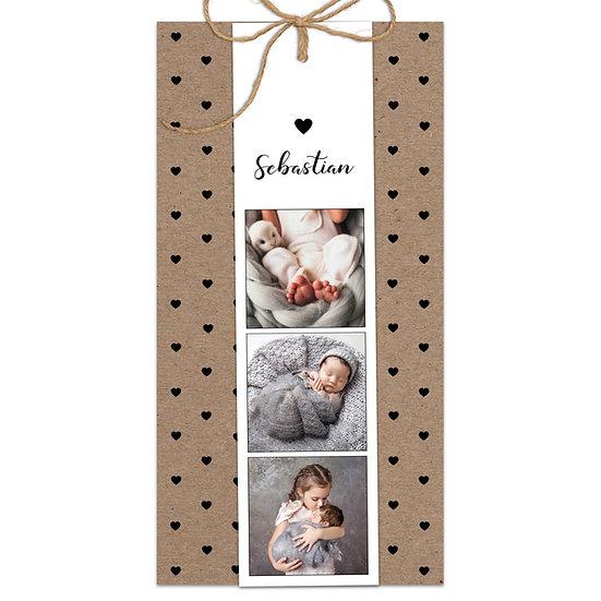 Geburtskarte Babykarte boho Bohemien Vintage echtes Kraftpapier Muskatpapier Fotokarte Sisalschnur Herz und Handlettering