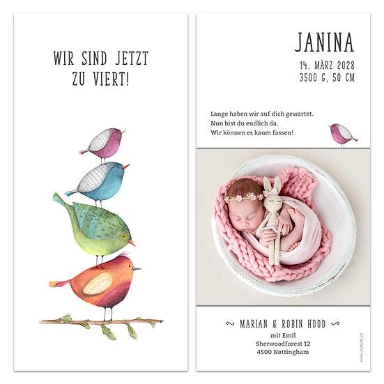 Geburtskarte Babykarte vier Vögel wir sind zu viert vier Vögel