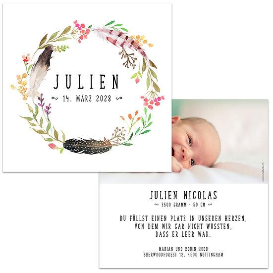 Geburtskarte Babykarte Boho Blumenkranz mit Feder im Bohemian Stil
