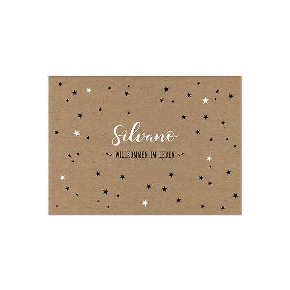 Geburtskarte Kraftpapier Muskatpapier Sterne Handlettering weiss