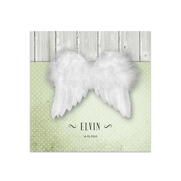"Geburtskarte Einzelkarte ""Engelsflügel Elvin"""